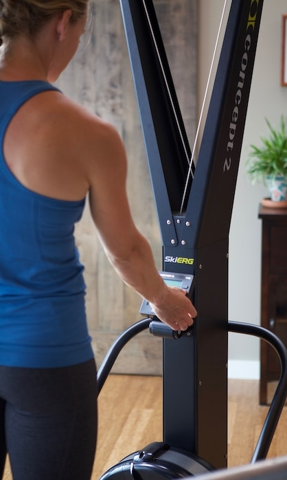 using skierg for a no impact workout and full body