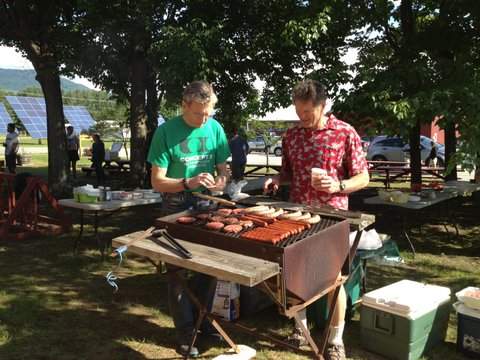 Dick and Pete on duty at the grill