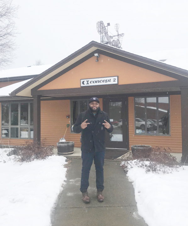 Arshay Cooper in front of Concept2's Morrisville, VT USA headquarters. November 2019.