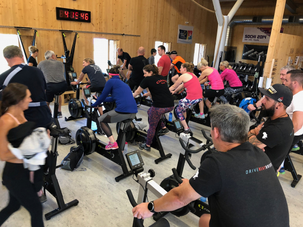 Concept2 tries out a BikeErg class at our recent global meeting.