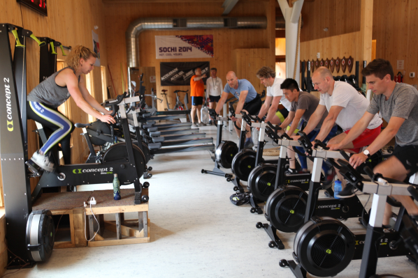 Concept2 trainer Cady leads a group BikeErg class