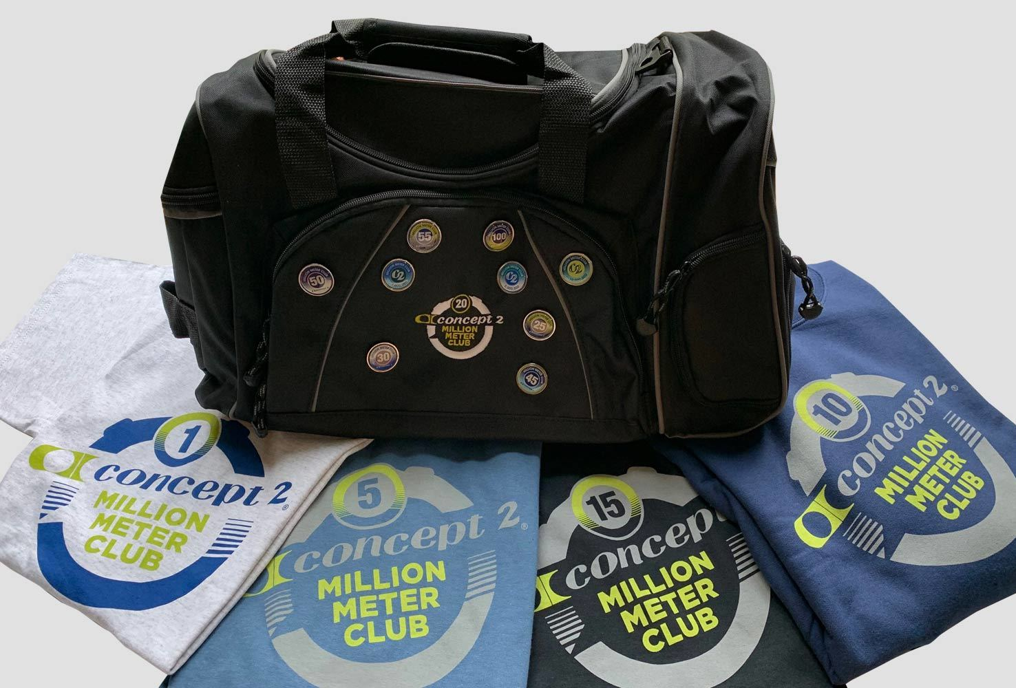 Concept2 Million meter club rewards include a bag, pins and t-shirts along the way